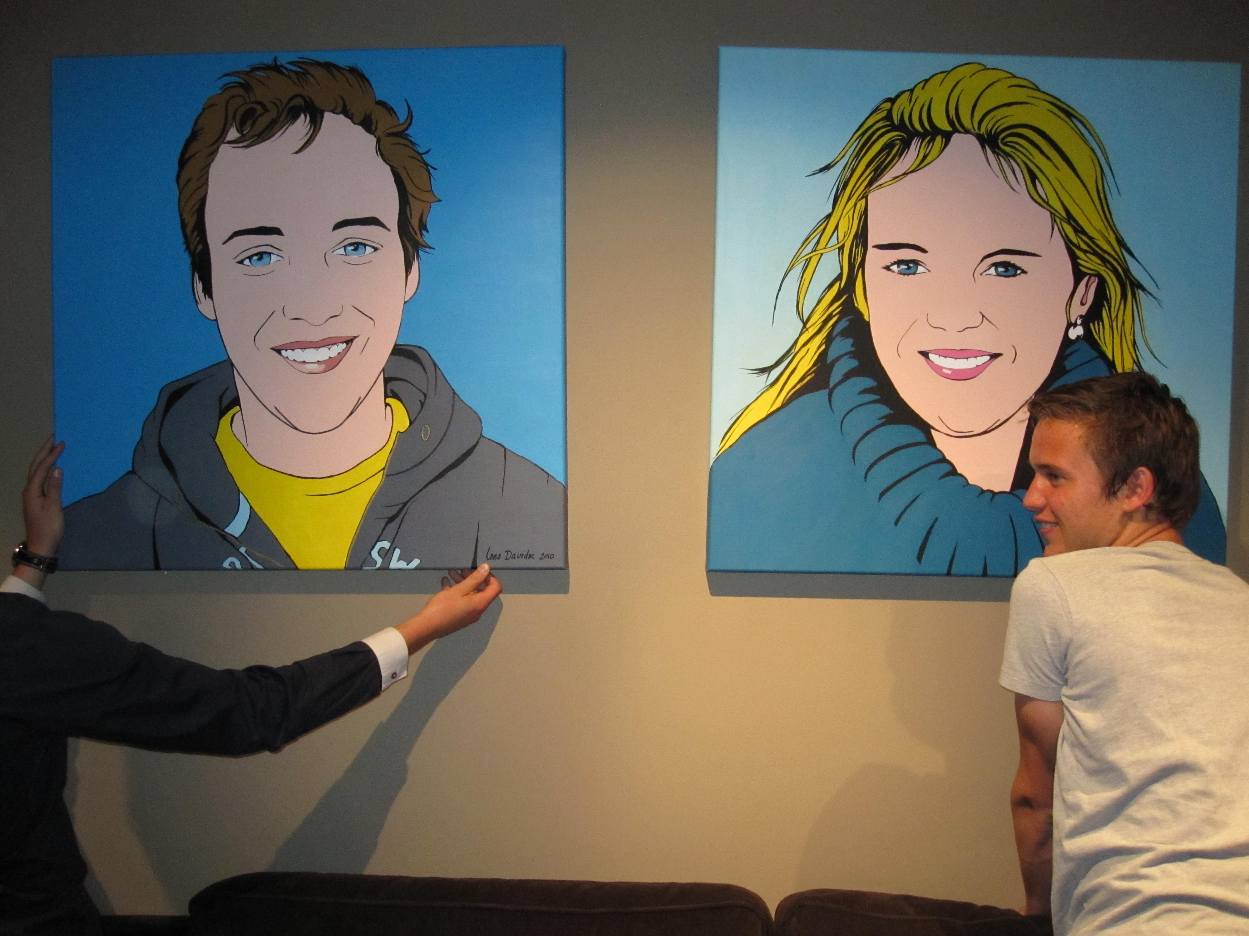 Jasper en Maartje, aan de muur