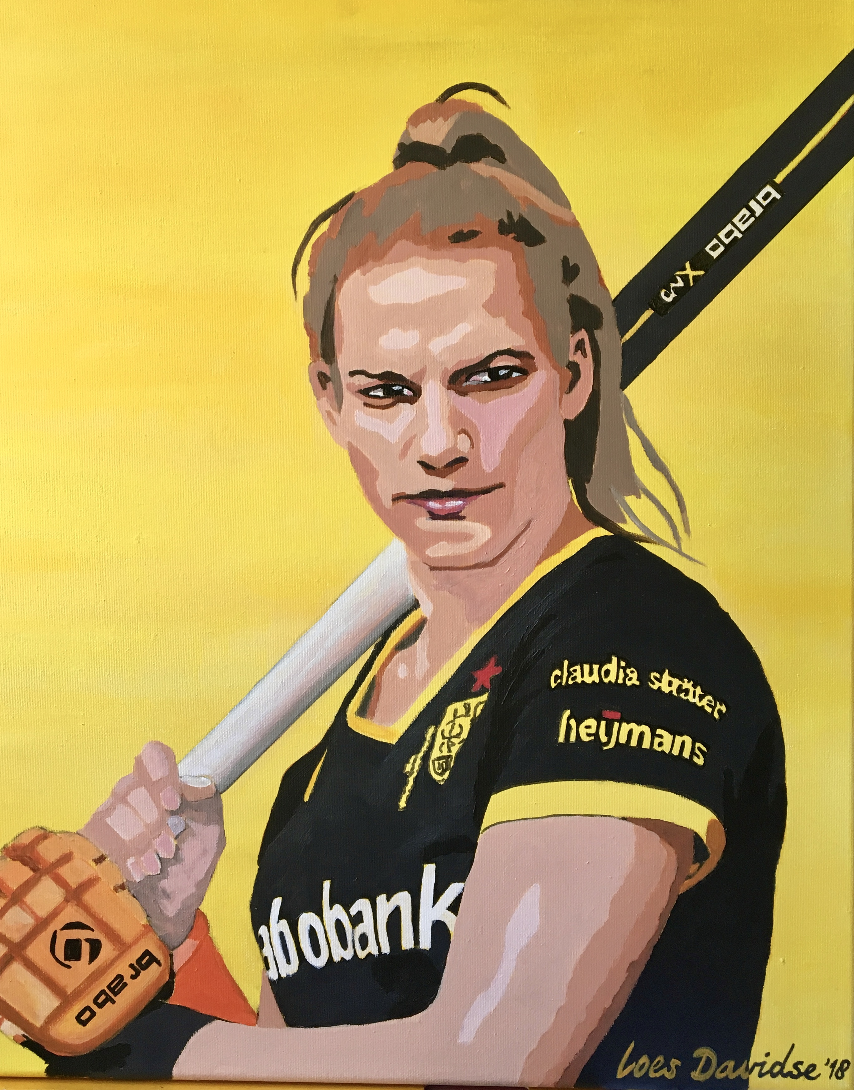 Schilderij van Frederique Matla beste speelster hoofdklasse play offs 2018
